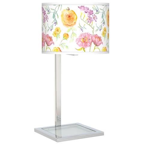 Spring Garden Glass Inset Table Lamp