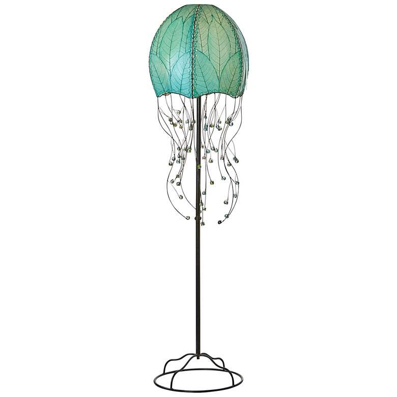 "Eangee Jellyfish Blue Cocoa Leaves 64"" High Floor Lamp"