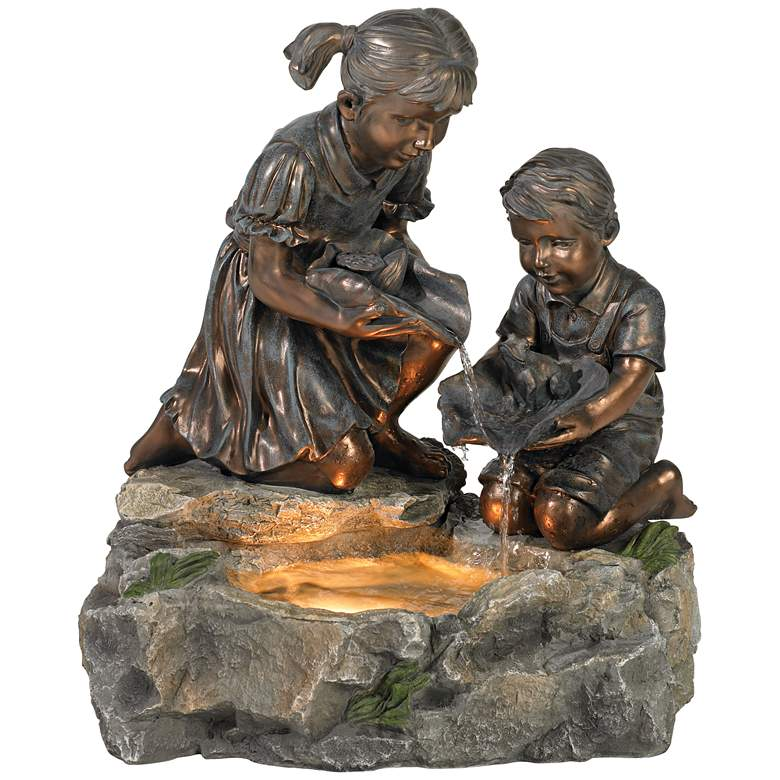 """Girl and Boy with Lily Pad 23 1/2"""" High Lighted Fountain"""