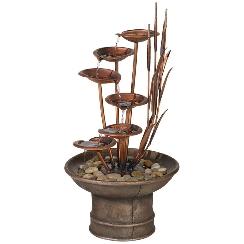 """Water Lilies and Cat Tails 33"""" High Rustic Garden Fountain"""
