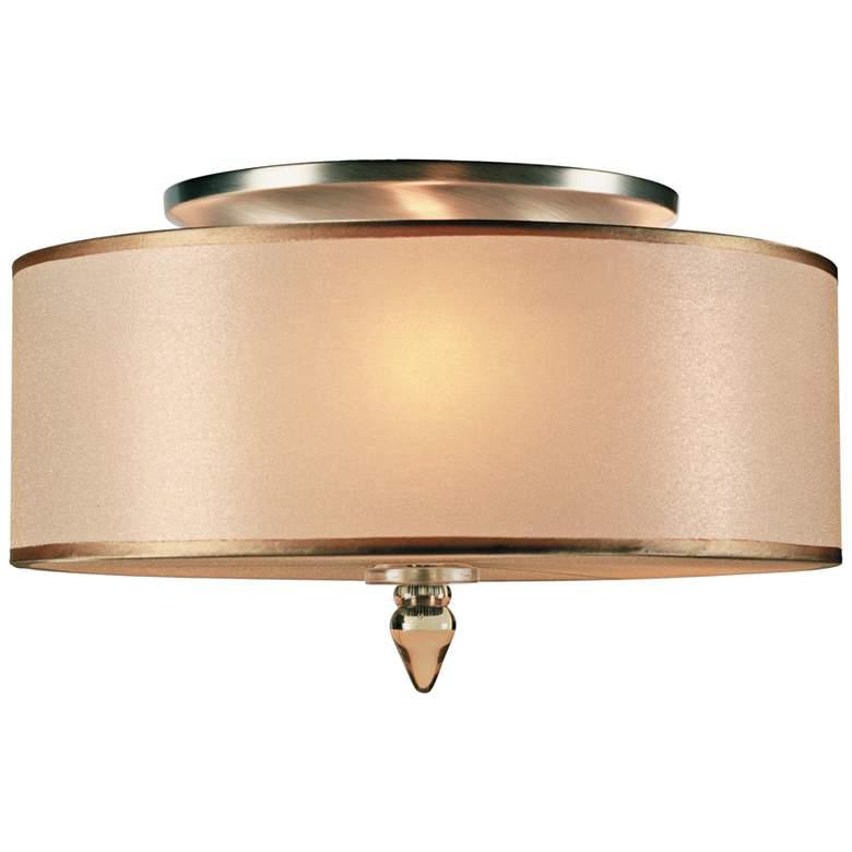 "Crystorama Luxo 14"" Wide Antique Brass Drum Ceiling Light"