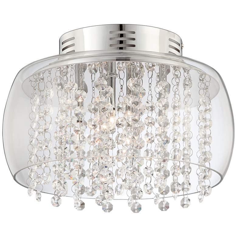 "Possini Euro Crystal Rainfall 11""W Glass Drum Ceiling Light"