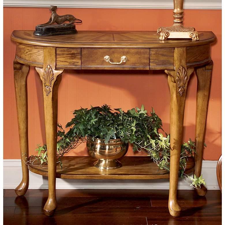 "Masterpiece 36 1/2"" Wide Vintage Oak Finish Console Table"