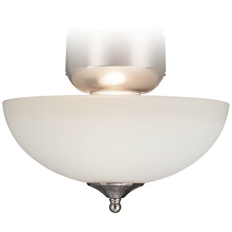 White Glass Brushed Nickel CFL Ceiling Fan Light Kit
