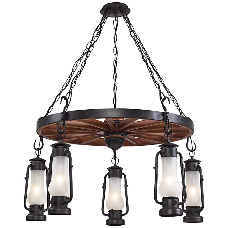 """Stagecoach Collection 45"""" Wide Rustic Wagon Wheel Chandelier"""