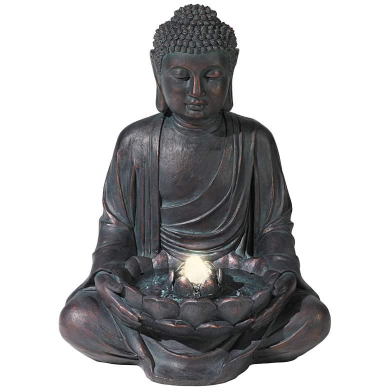 "Meditating Buddha 24"" High Bubbler Fountain with Light"