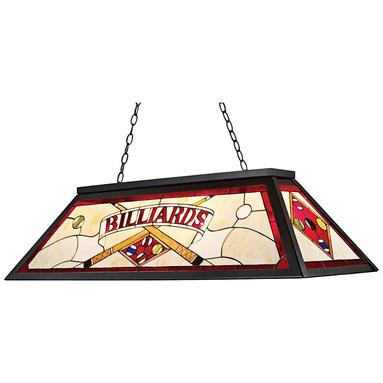 "Billiards Red Tiffany-Style 44"" Wide Pool Table Chandelier"