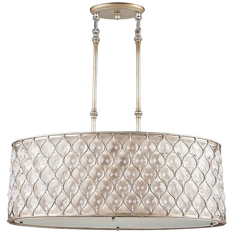 """Feiss 32 1/8"""" Wide Lucia Silver Finish Pendant Chandelier"""