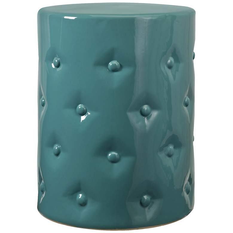 Vivid Turquoise Ceramic Garden Stool