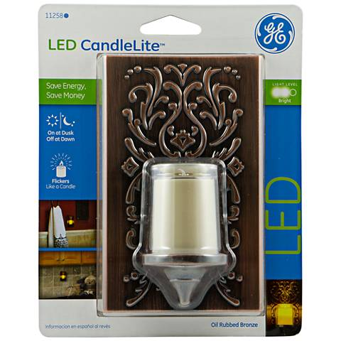 GE Plastic Faux Bronze Candlelight LED Night Light