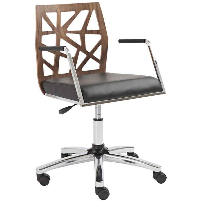 Sophia American Walnut Wood and Black Swivel Office Chair