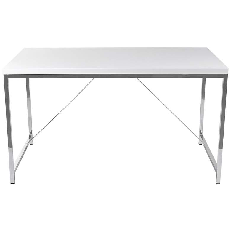 Gilbert Gloss White Lacquer and Chrome Desk