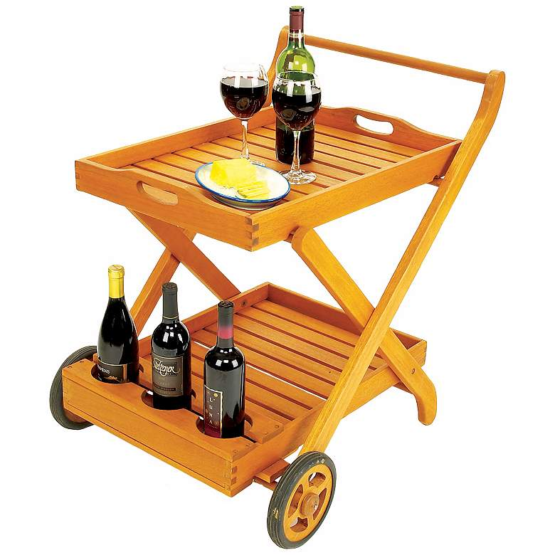 Eucalyptus Outdoor Serving Cart with Tray