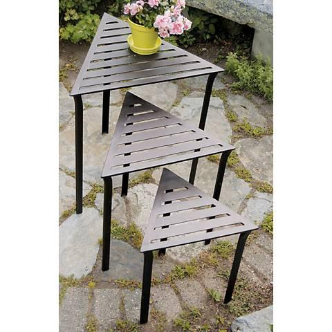 Set of 3 Triangular Indoor-Outdoor Nesting Tables