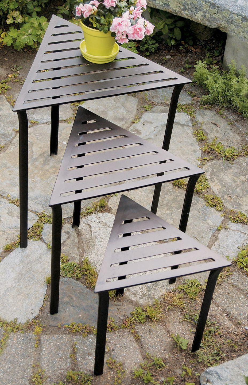 Set Of 3 Triangular Indoor Outdoor Nesting Tables
