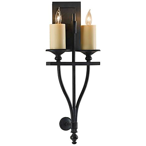 """King's Table 22 1/2""""H Antique Forged 2-Light Wall Sconce"""