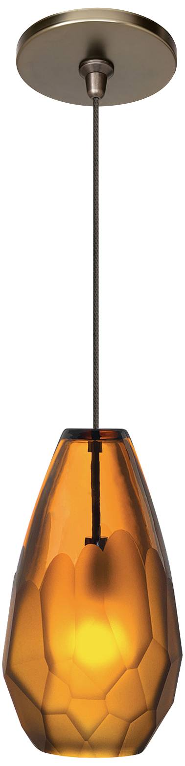 Lbl briolette fsj 4 1 4 wide amber glass mini pendant