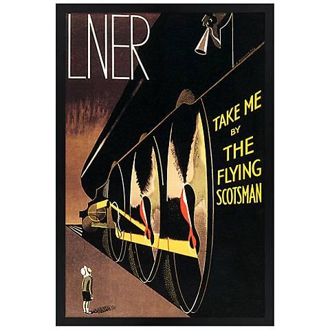"Flying Scotsman 30"" High Black Rectangular Giclee Wall Art"