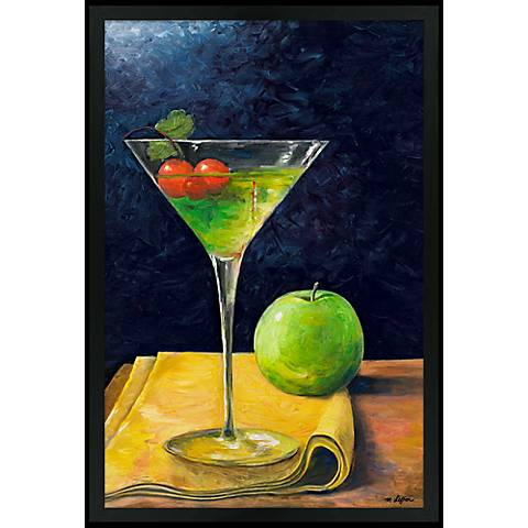"Appletini 30"" High Black Rectangular Giclee Wall Art"