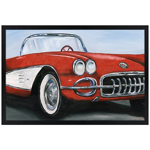 "Red Roadster 30"" Wide Black Rectangular Giclee Wall Art"
