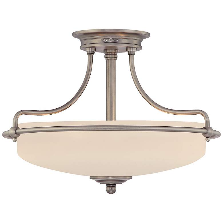 """Griffin Collection Antique Nickel 17"""" Wide Ceiling Light"""