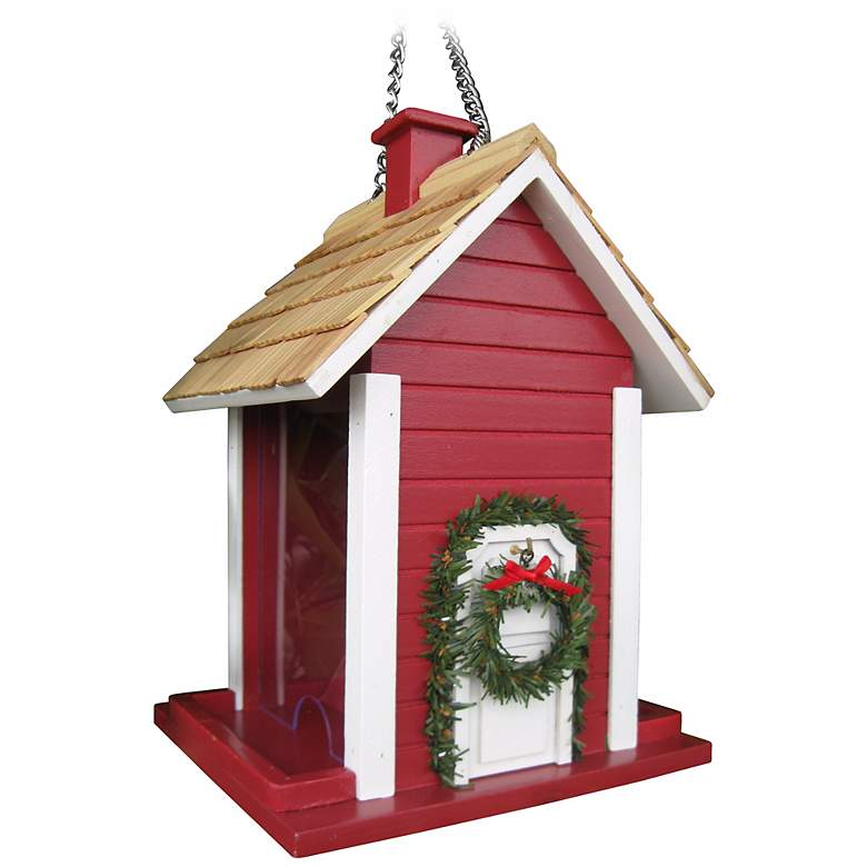 Red Christmas Cottage Bird House