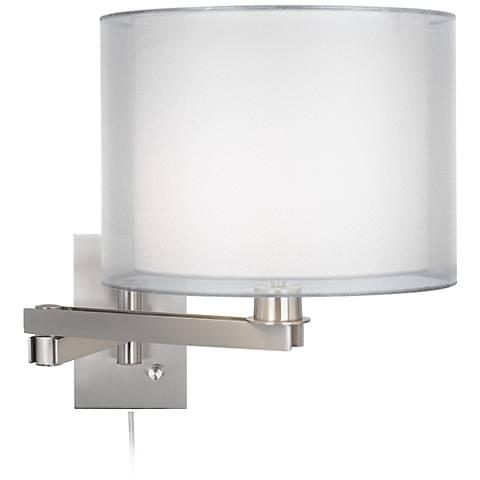 Possini Euro Design Double Sheer Silver Plug-In Swing Arm