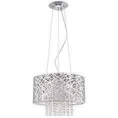 Possini Euro Design Chrome Nest with Crystal Pendant