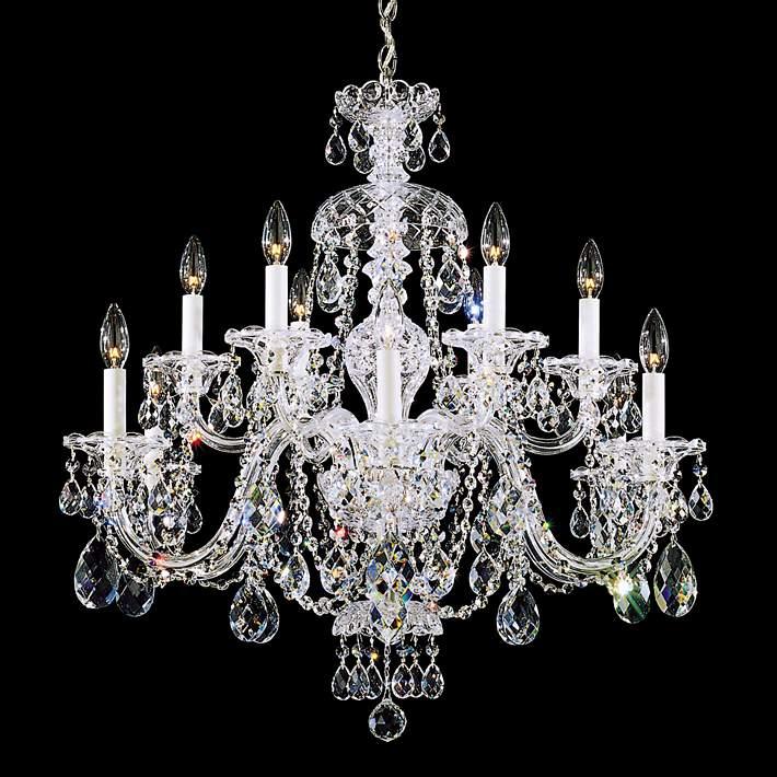 Swarovski Crystal 12 Light Chandelier, Schonbek 12 Light Crystal Chandelier
