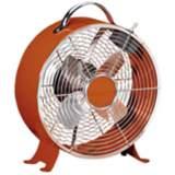 Burnt Orange Retro Metal Desk Fan