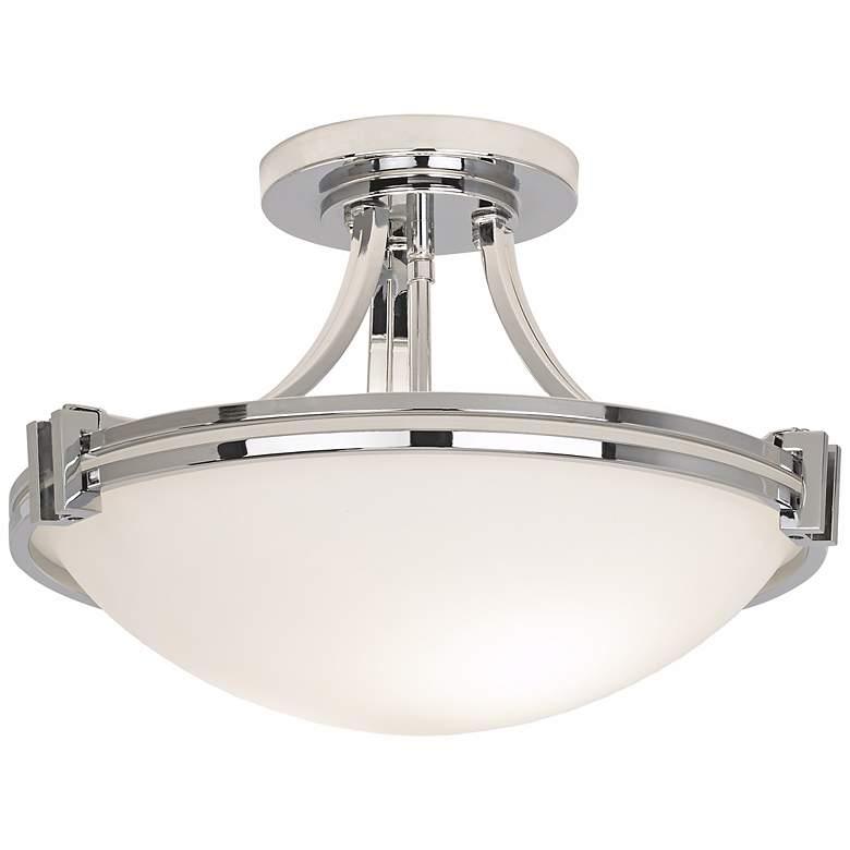 "Possini Euro Deco 16"" Wide Chrome Ceiling Light"