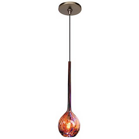 "LBL Madeleine 3 1/4""W Purple Art Glass Bronze Mini Pendant"