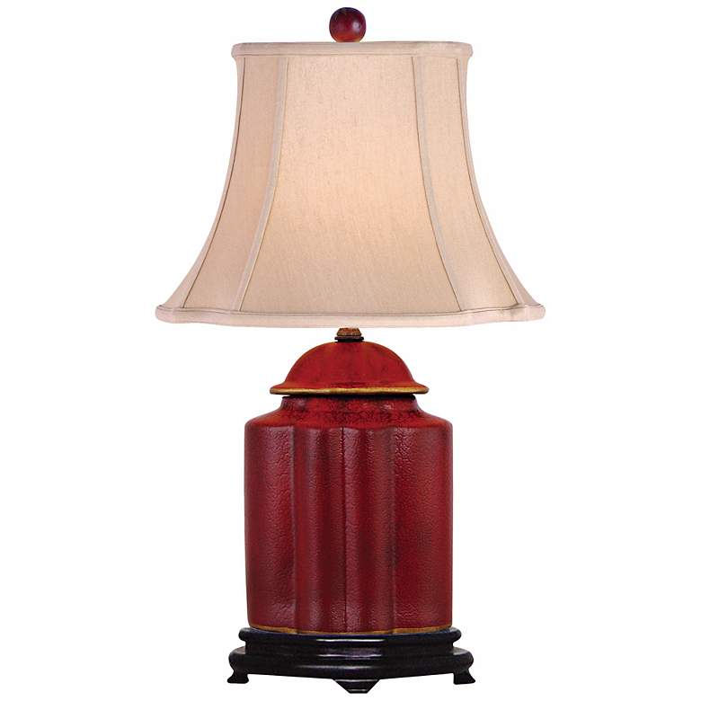 Red Lacquer Scallop Tea Jar Table Lamp