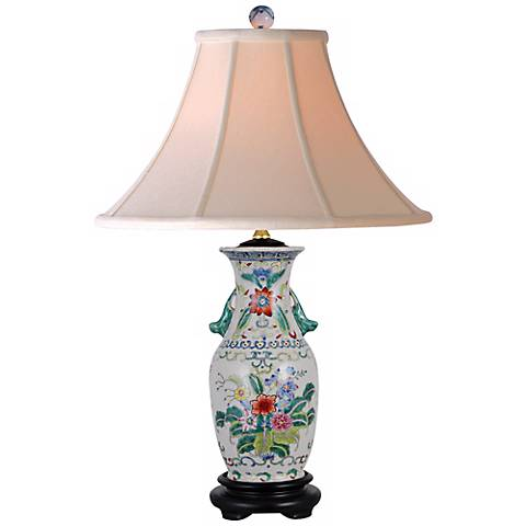 "Floral Colors 22"" High Hand Painted Porcelain Table Lamp"