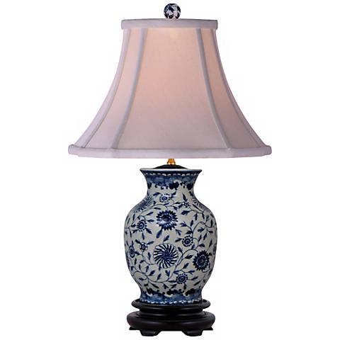 Blue and White English Floral Porcelain Vase Table Lamp