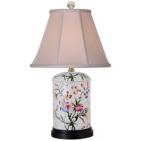 Floral Jar Porcelain Accent Table Lamp