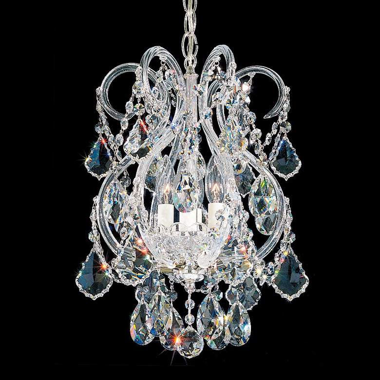 "Olde World 11"" Wide Silver Swarovski Crystal Mini Pendant"