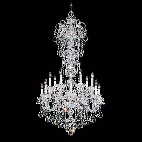 "Olde World 32"" Wide Spectra Crystal Chandelier in Silver"