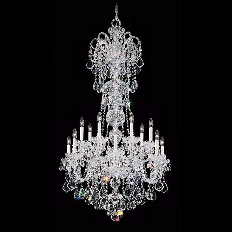 "Olde World 32"" Wide Swarovski Crystal Chandelier in Silver"