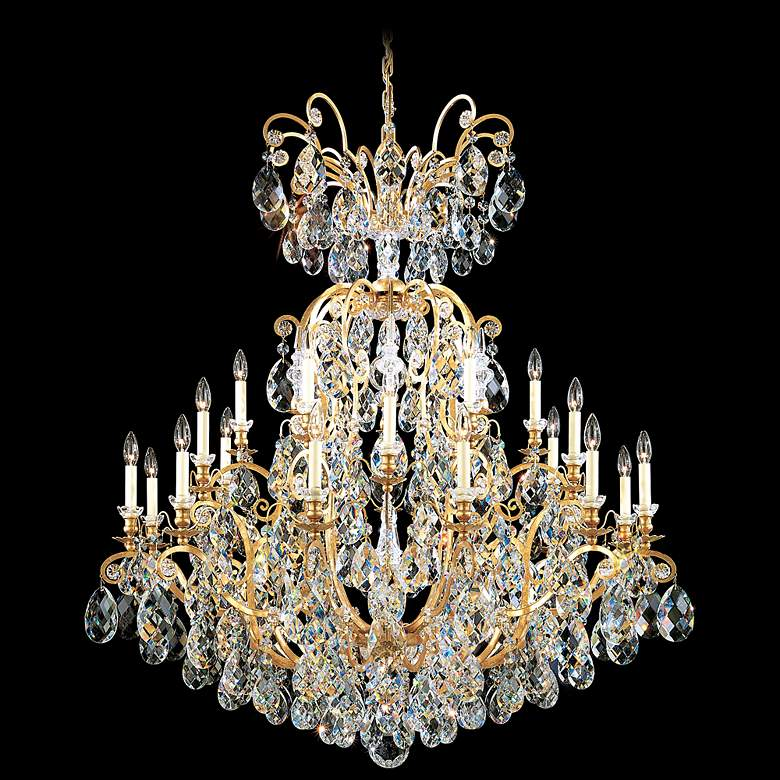 "Schonbek Renaissance 45""W Etruscan Gold Crystal Chandelier"