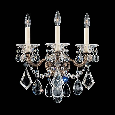 """Schonbek La Scala Collection 15"""" Wide Crystal Wall Sconce"""