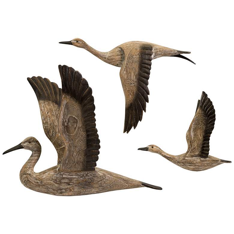 Set of 3 Reeds Migration Wood Wall Decorations