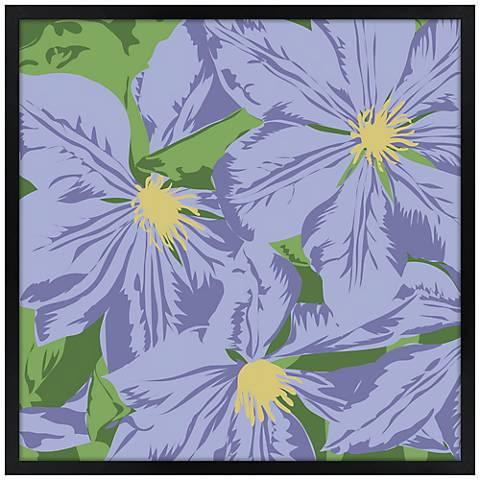 "Purple Petals 21"" Square Black Giclee Wall Art"