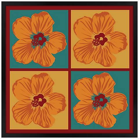 "Orange Hibiscus 21"" Square Black Giclee Wall Art"