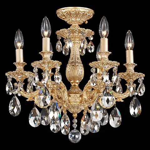 "Schonbek Milano 17""W Gold Optic Clear Crystal Ceiling Light"