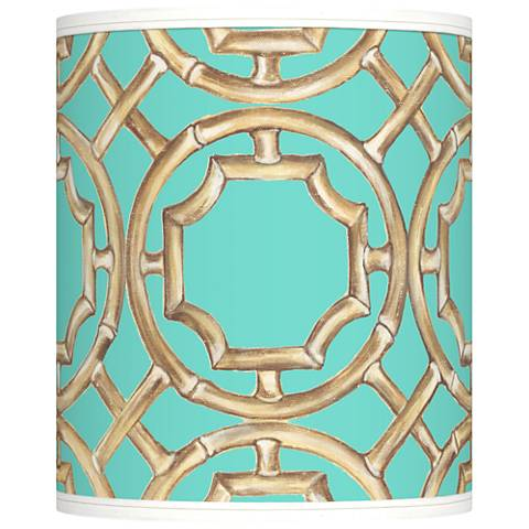 Teal Bamboo Trellis Giclee Shade 10x10x12 (Spider)