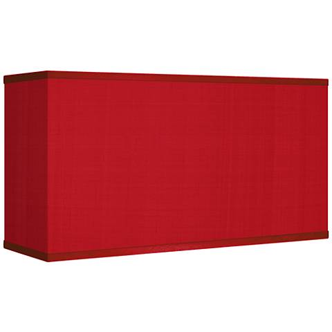 China Red Textured Silk Rectangular Shade 8/17x8/17x10 (Spider)