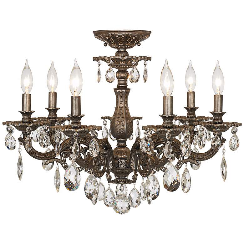 """Schonbek Milano 24""""W Midnight Clear Crystal Ceiling Light"""