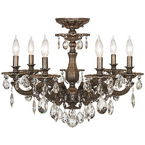 "Schonbek Milano 24""W Midnight Clear Crystal Ceiling Light"