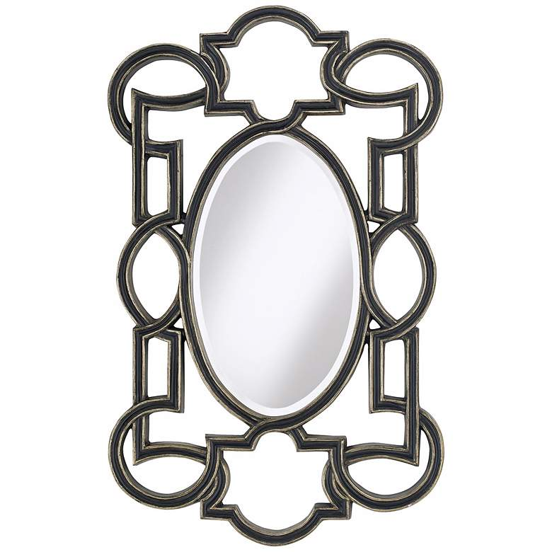 """Black and Gold 42"""" High Oval Wall Mirror"""